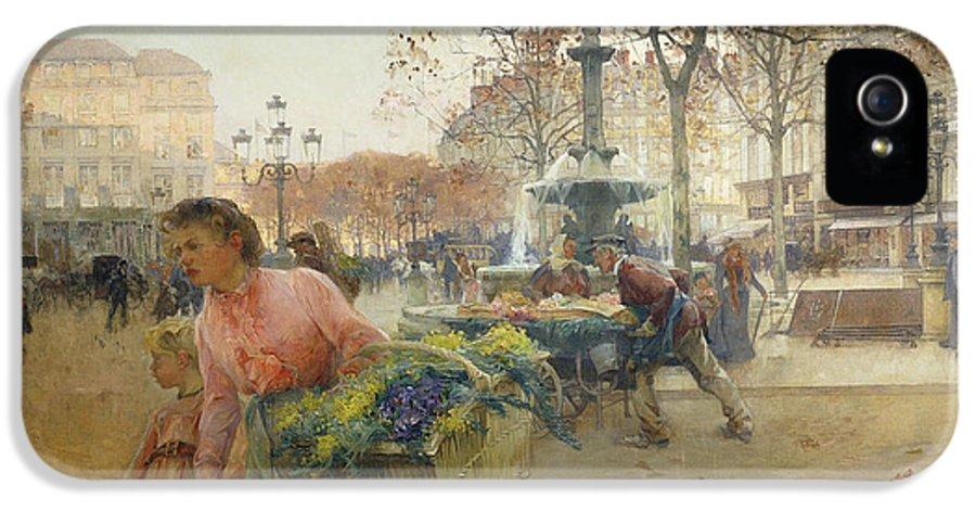 1900s IPhone 5 Case featuring the painting Place Du Theatre Francais Paris by Eugene Galien-Laloue