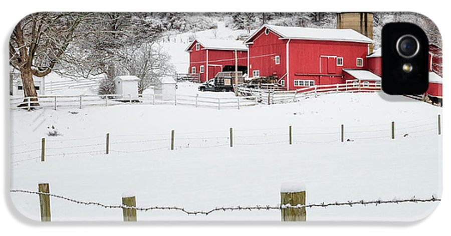 Old Red Barn IPhone 5 Case featuring the photograph Platt Farm Square by Bill Wakeley