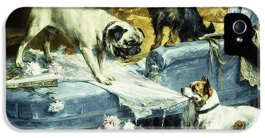 1890s IPhone 5 Case featuring the painting Playing Havoc by Charles van den Evcken