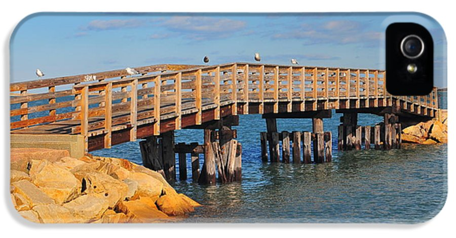 Plymouth Massachusetts IPhone 5 / 5s Case featuring the photograph Plymouth Harbor Breakwater by Catherine Reusch Daley