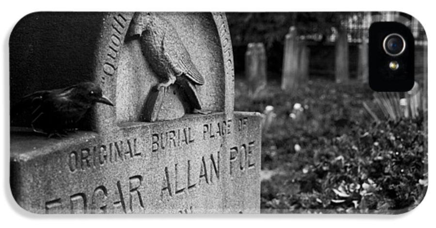 Edgar Allan Poe IPhone 5 Case featuring the photograph Poe's Original Grave by Jennifer Ancker