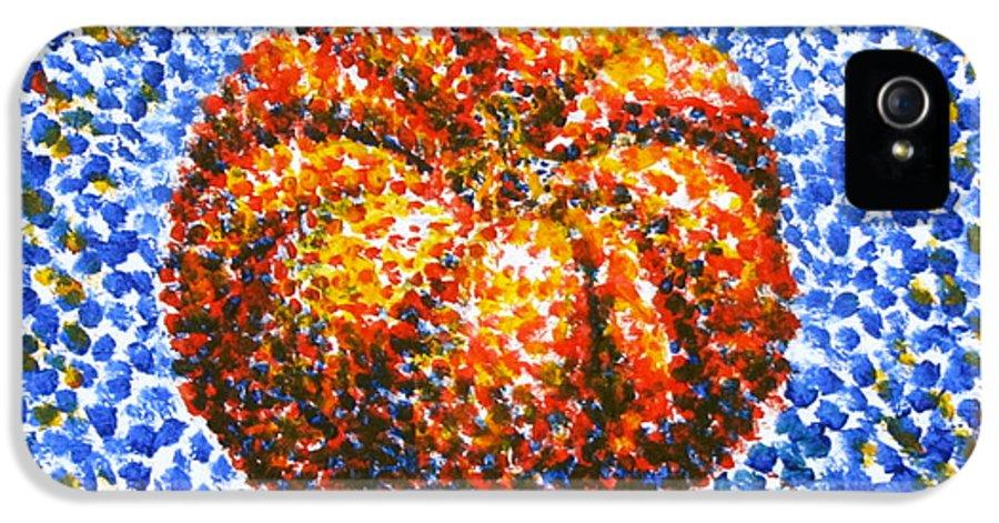 Pumpkin IPhone 5 Case featuring the painting Pointillism Pumpkin by Samantha Geernaert