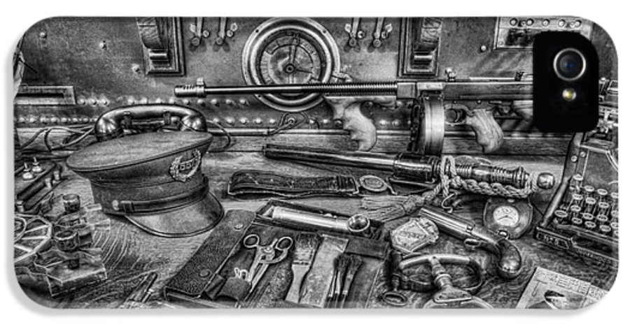 Police IPhone 5 Case featuring the photograph Police - Behind The Front Desk Black And White by Lee Dos Santos