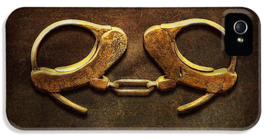Handcuffs IPhone 5 Case featuring the photograph Police - Handcuffs Aren't Always A Bad Thing by Mike Savad