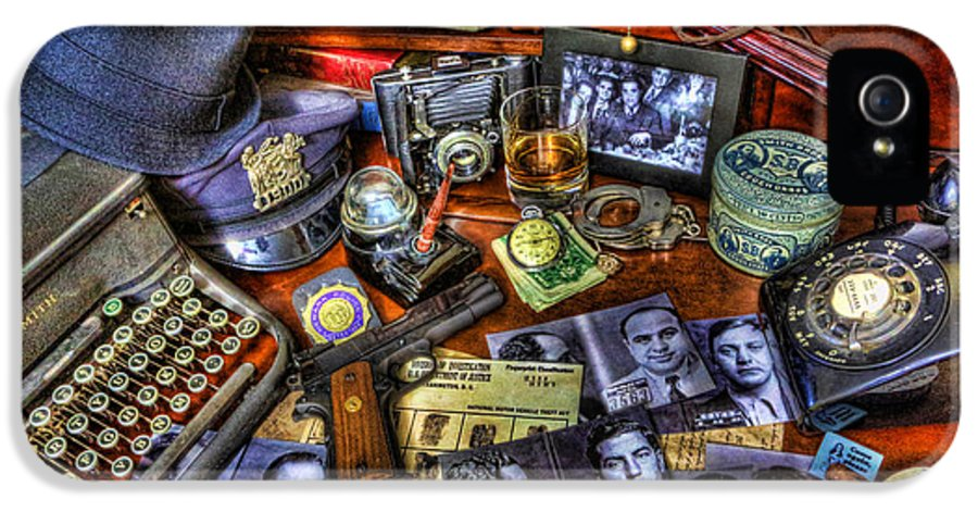 Police IPhone 5 Case featuring the photograph Police Officer - Chasing The American Gangster by Lee Dos Santos