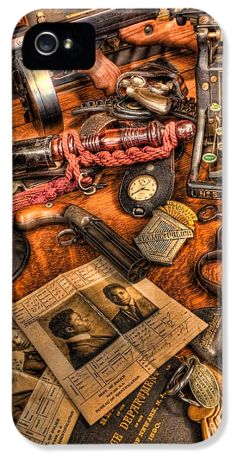 Police IPhone 5 Case featuring the photograph Police Officer - The Detective's Desk by Lee Dos Santos