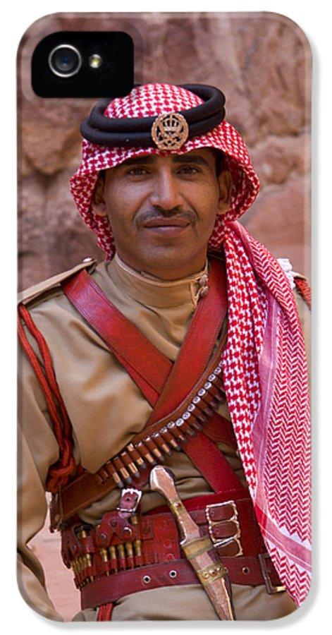 Jordanian IPhone 5 Case featuring the photograph Policeman In Petra Jordan by David Smith