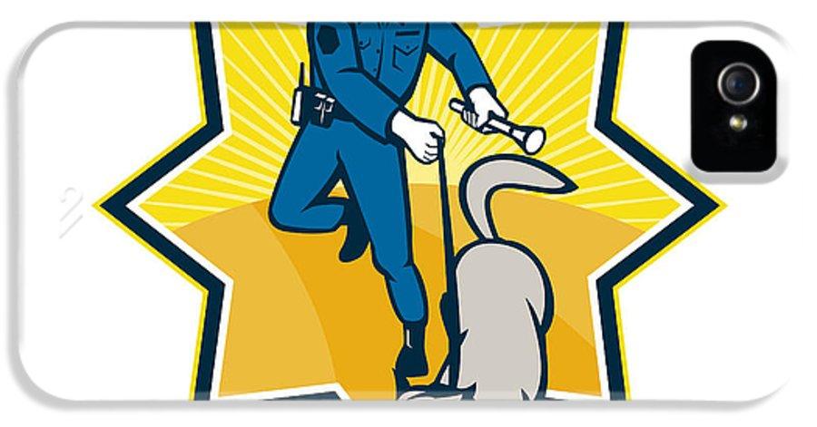 Policeman IPhone 5 Case featuring the digital art Policeman Police Dog Canine Team by Aloysius Patrimonio