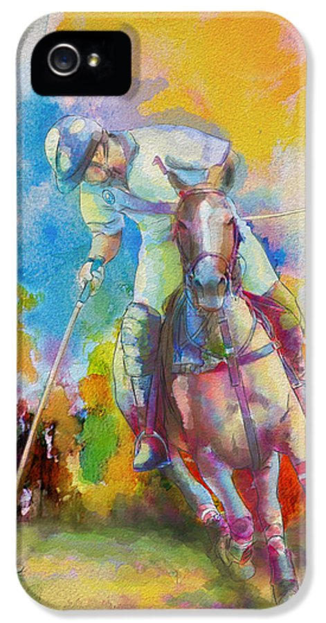 Sports IPhone 5 / 5s Case featuring the painting Polo Art by Catf