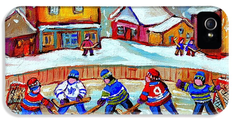 Pond Hockey IPhone 5 Case featuring the painting Pond Hockey Game by Carole Spandau