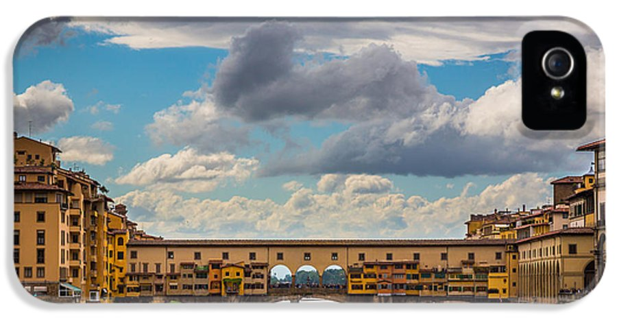 Arno IPhone 5 Case featuring the photograph Ponte Vecchio Clouds by Inge Johnsson