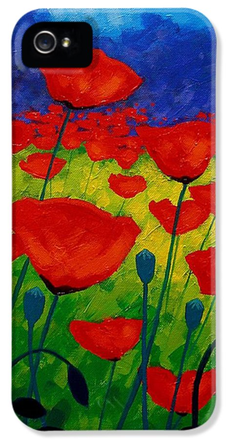 Poppies IPhone 5 Case featuring the painting Poppy Corner II by John Nolan
