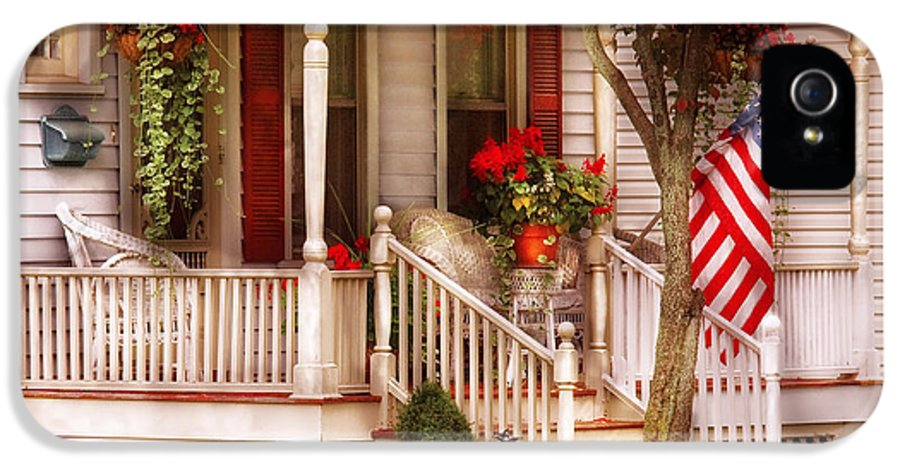 Savad IPhone 5 Case featuring the photograph Porch - Americana by Mike Savad