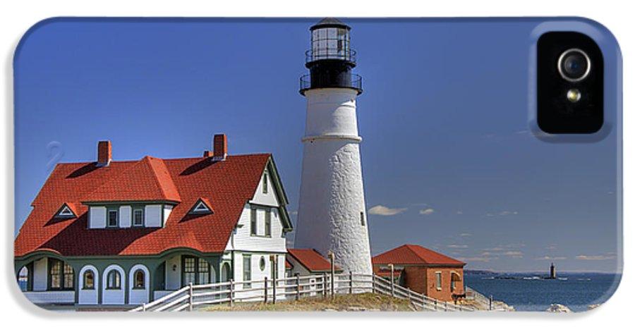 Atlantic Ocean IPhone 5 Case featuring the photograph Portland Head Light by Joann Vitali