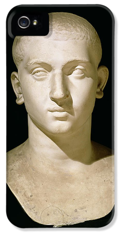 Male IPhone 5 Case featuring the sculpture Portrait Bust Of Emperor Severus Alexander by Anonymous