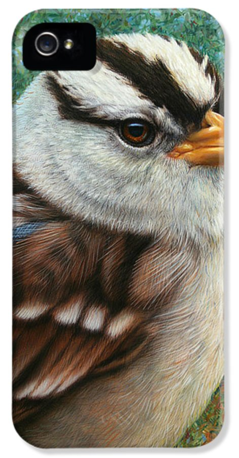 Sparrow IPhone 5 Case featuring the painting Portrait Of A Sparrow by James W Johnson