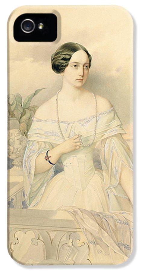 Female IPhone 5 Case featuring the painting Portrait Of Grand Duchess Olga Nikolaevna by Vladimir Ivanovich Hau
