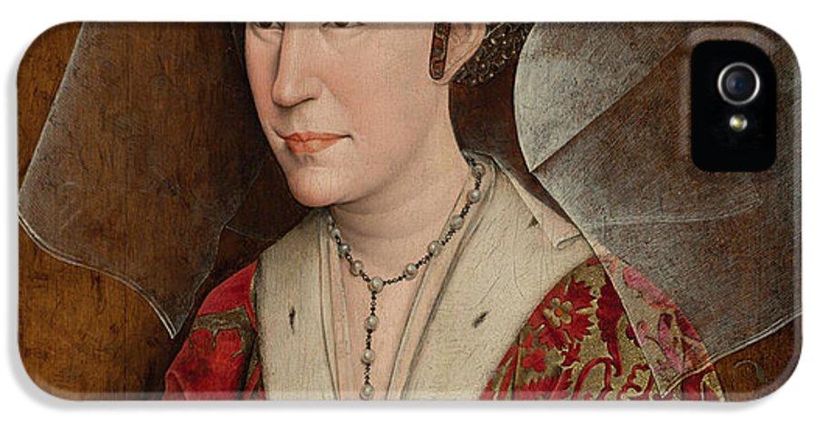 Workshop Of Rogier Van Der Weyden IPhone 5 Case featuring the painting Portrait Of Isabella Of Portugal by Workshop of Rogier van der Weyden