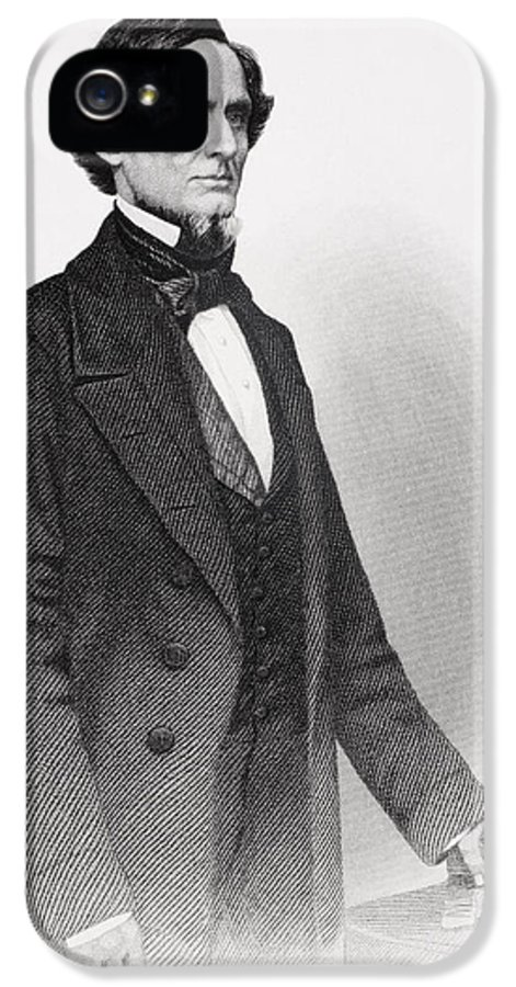 Male IPhone 5 Case featuring the drawing Portrait Of Jefferson Davis by Mathew Bardy