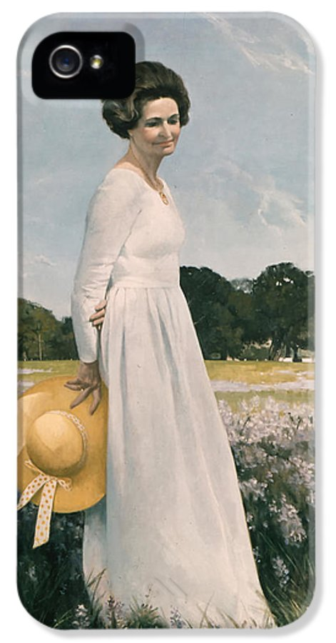 Portrait IPhone 5 Case featuring the painting Portrait Of Mrs Lyndon B Johnson by Mountain Dreams