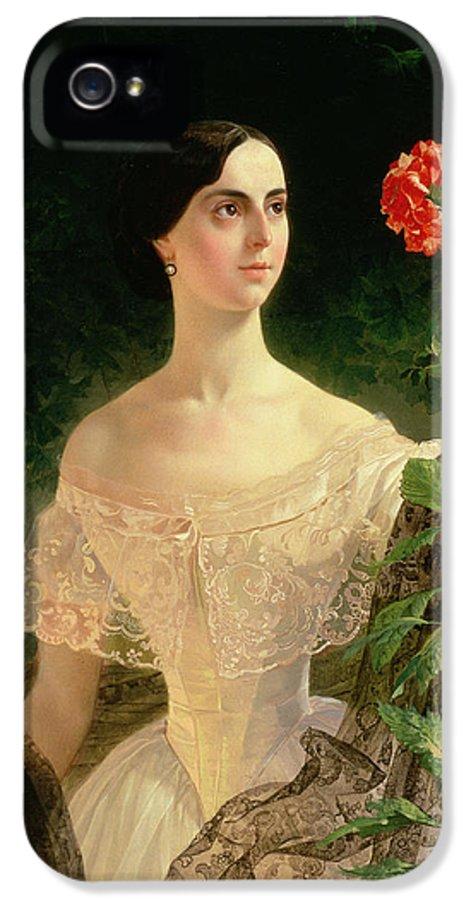 Female IPhone 5 Case featuring the painting Portrait Of Sofia Andreyevna Shuvalova by Karl Pavlovich Bryullov