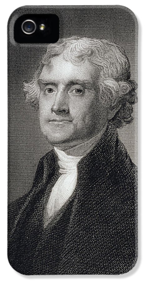 Thomas Jefferson IPhone 5 / 5s Case featuring the drawing Portrait Of Thomas Jefferson by Henry Bryan Hall