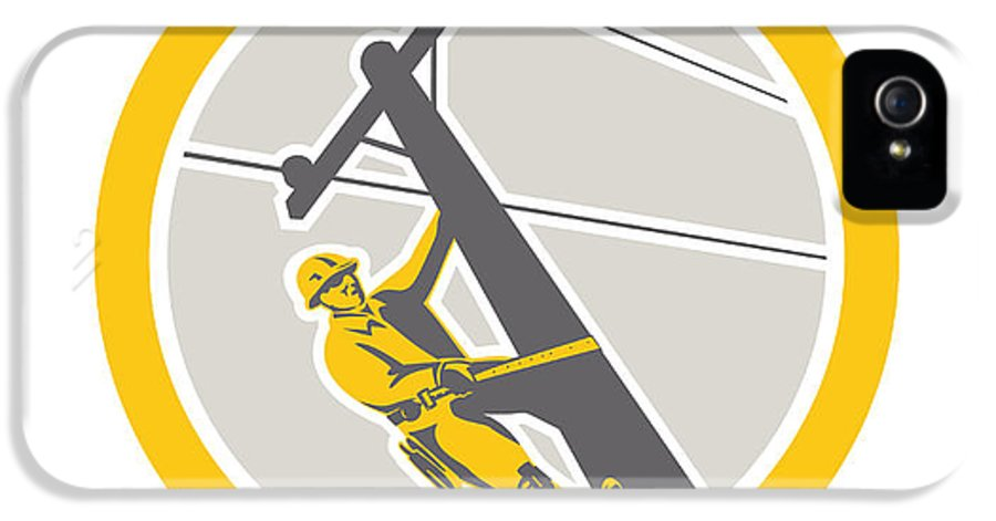 Power Lineman IPhone 5 Case featuring the digital art Power Lineman Repairman Climbing Pole Circle by Aloysius Patrimonio