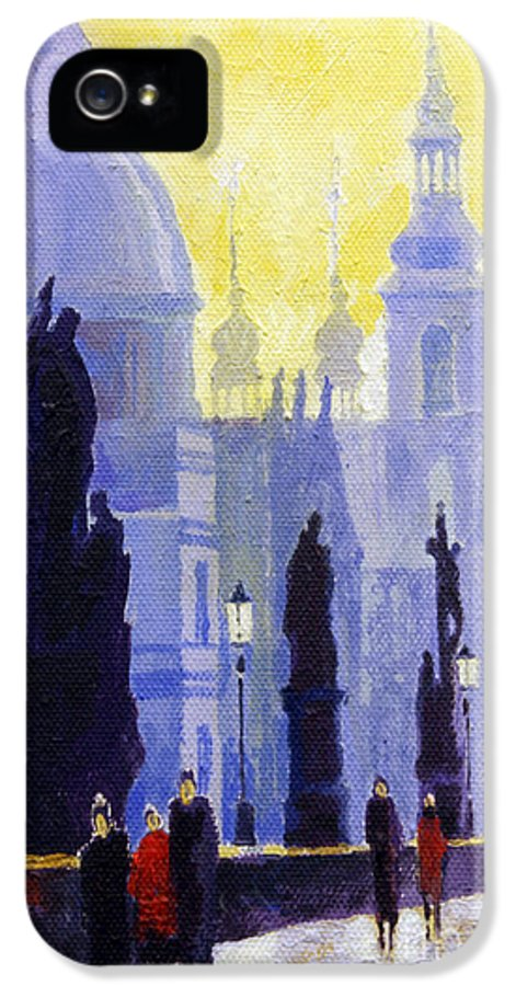 Oil On Canvas IPhone 5 Case featuring the painting Prague Charles Bridge 03 by Yuriy Shevchuk