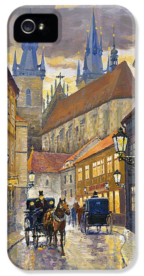 Oil IPhone 5 Case featuring the painting Prague Old Street Stupartska by Yuriy Shevchuk