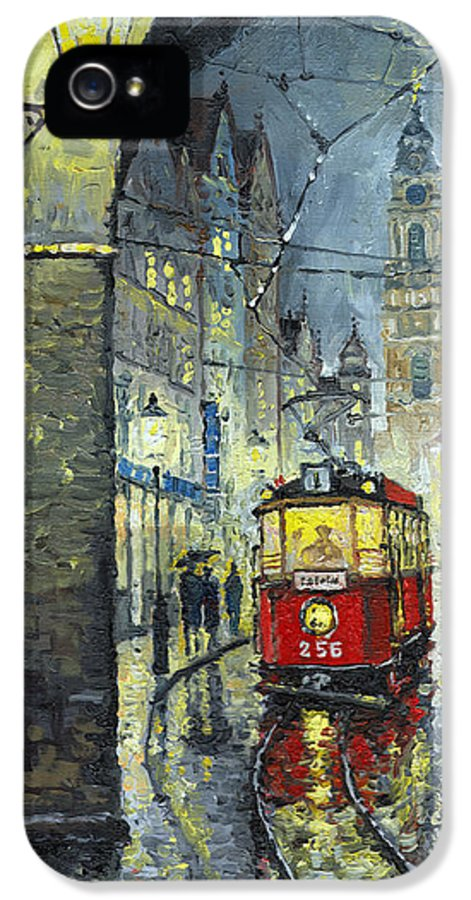 Oil IPhone 5 Case featuring the painting Praha Red Tram Mostecka Str by Yuriy Shevchuk