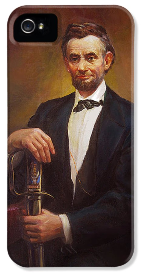 Abraham IPhone 5 Case featuring the painting President Abraham Lincoln by Svitozar Nenyuk