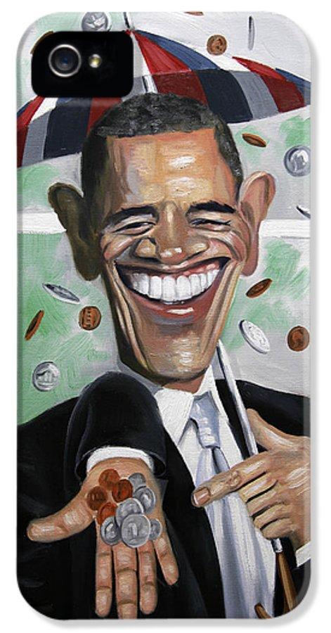 President Barock Obama IPhone 5 Case featuring the painting President Barock Obama Change by Anthony Falbo