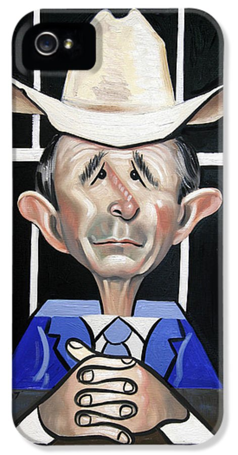 President George W Bush You Been Cubed IPhone 5 Case featuring the painting President George W Bush You Been Cubed by Anthony Falbo