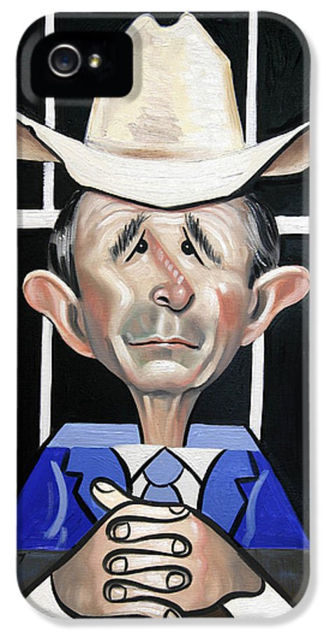 President George W Bush You Been Cubed IPhone 5 / 5s Case featuring the painting President George W Bush You Been Cubed by Anthony Falbo