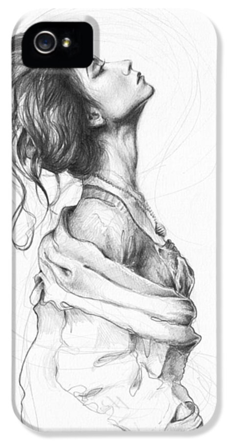 Pencil Drawing IPhone 5 Case featuring the drawing Pretty Lady by Olga Shvartsur
