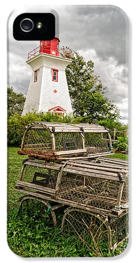 Lighthouse IPhone 5 Case featuring the photograph Prince Edward Island Lighthouse With Lobster Traps by Edward Fielding