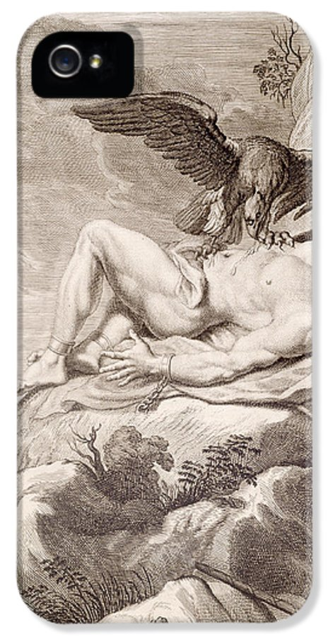 Picart IPhone 5 Case featuring the drawing Prometheus Tortured By A Vulture by Bernard Picart