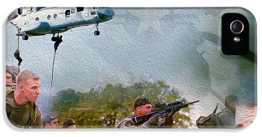 Marines IPhone 5 Case featuring the mixed media Proud To Serve by Jon Neidert
