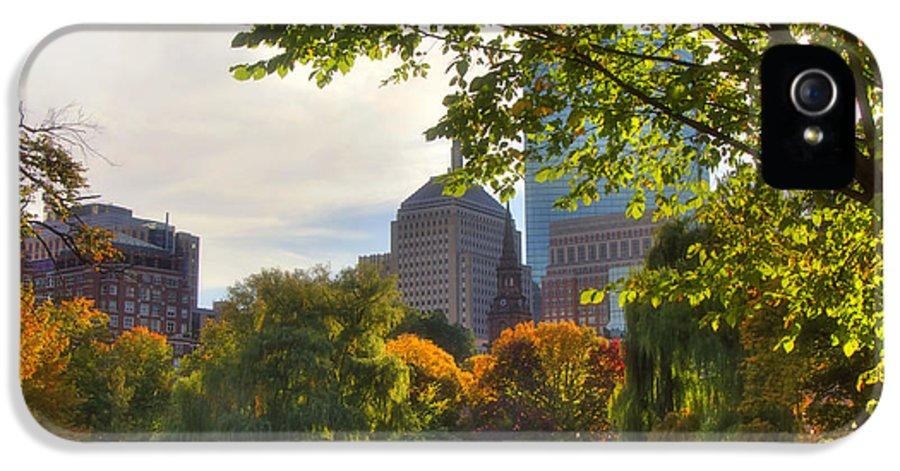 Boston IPhone 5 Case featuring the photograph Public Garden Skyline by Joann Vitali