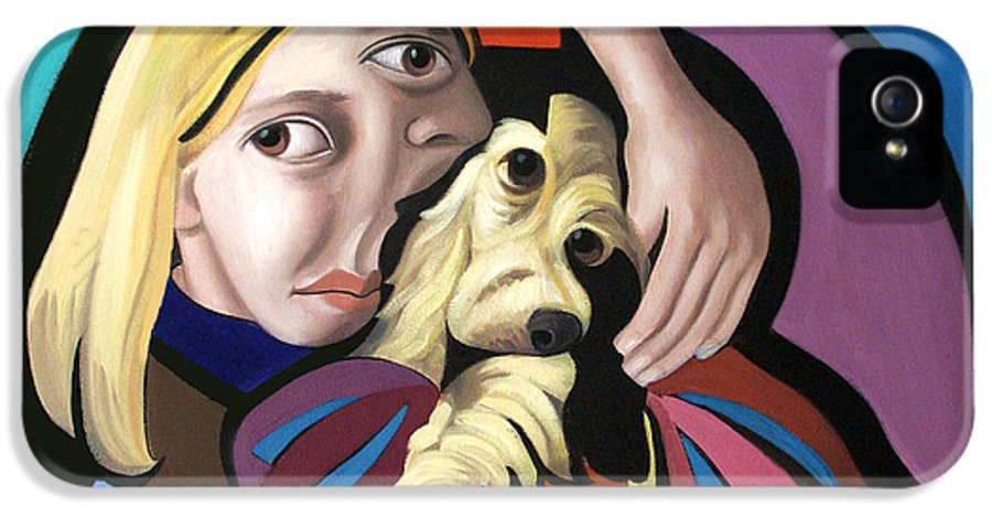 Puppy Love Framed Prints IPhone 5 Case featuring the painting Puppy Love by Anthony Falbo