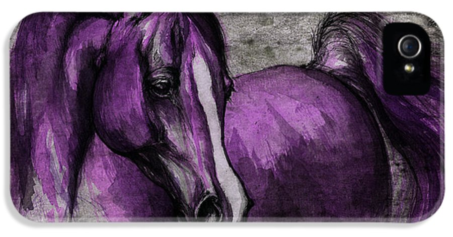 Horse IPhone 5 Case featuring the painting Purple One by Angel Tarantella