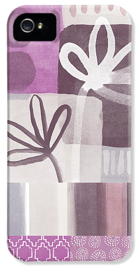 Hope IPhone 5 Case featuring the mixed media Purple Patchwork- Contemporary Art by Linda Woods