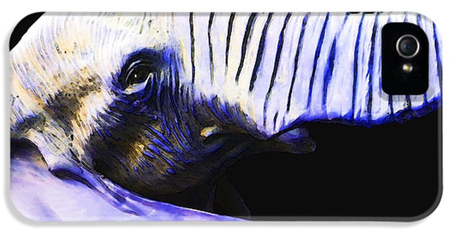 Elephant IPhone 5 Case featuring the painting Purple Rein - Vibrant Elephant Head Shot Art by Sharon Cummings