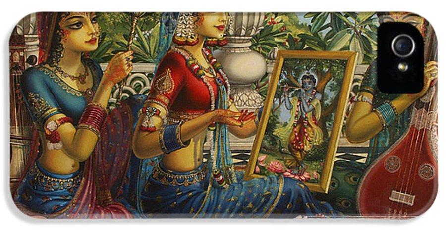 Krishna IPhone 5 Case featuring the painting Purva Raga by Vrindavan Das