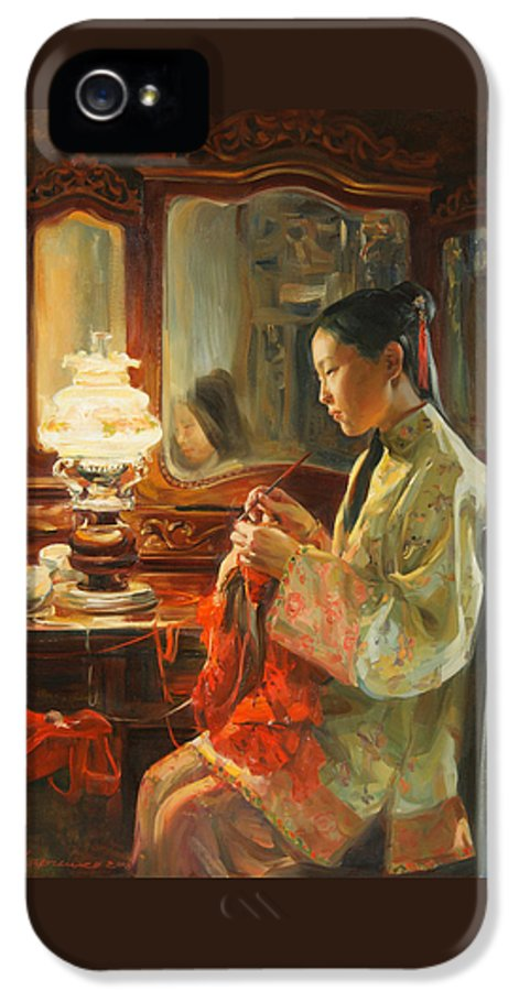 China IPhone 5 Case featuring the painting Quiet Evening by Victoria Kharchenko