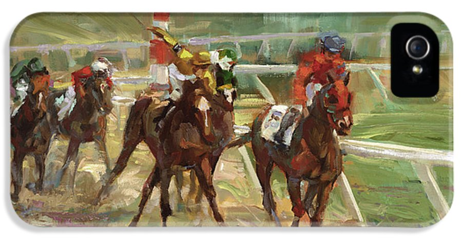 Horse IPhone 5 Case featuring the painting Race Horses by Laurie Hein