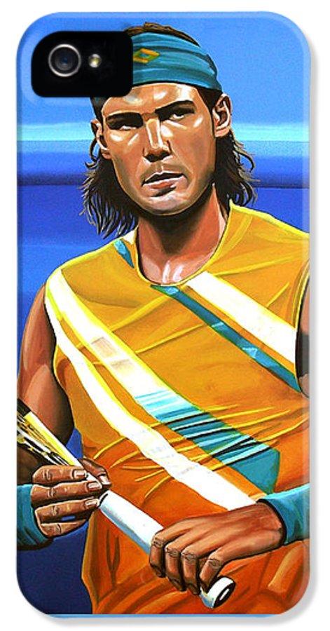 Rafael Nadal IPhone 5 Case featuring the painting Rafael Nadal by Paul Meijering