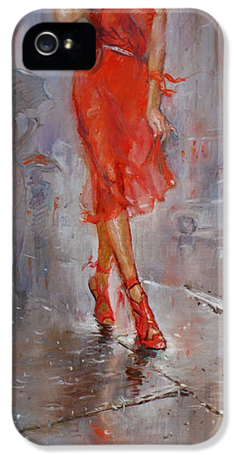 Rain IPhone 5 Case featuring the painting Rain In Manhattan by Ylli Haruni