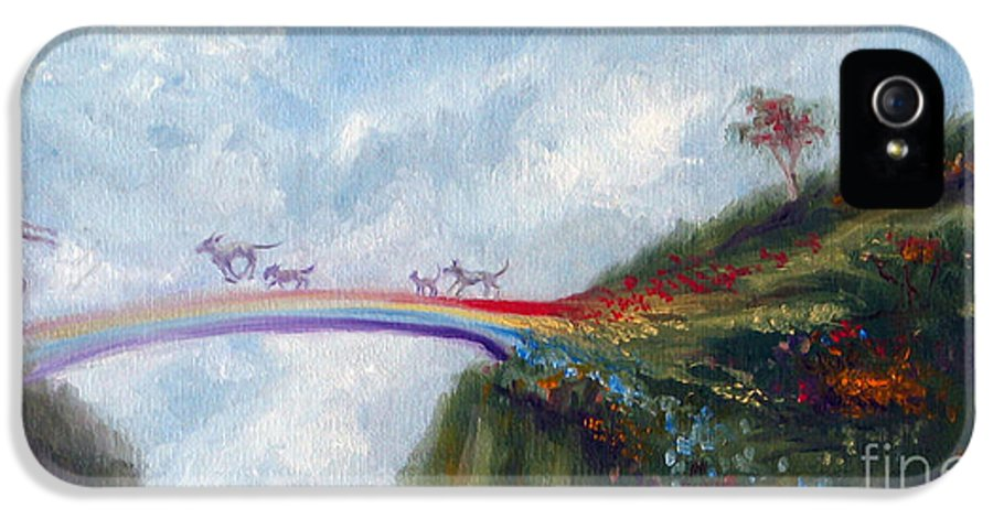 Dog IPhone 5 Case featuring the painting Rainbow Bridge by Stella Violano