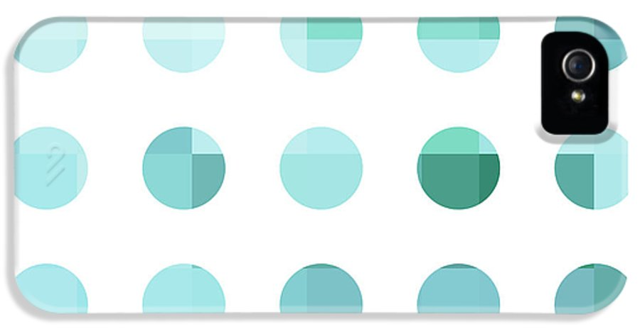 Abstract IPhone 5 / 5s Case featuring the painting Rainbow Dots Aqua by Pixel Chimp